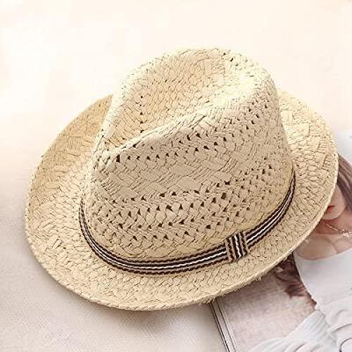 NJJX Moda Trabajo Hecho A Mano Mujeres Verano Rafia Paja Sombrero para El Sol Boho Beach Sombrero Fedora Sombrero para El Sol Trilby Hombres Sombrero De Panamá Gorra De Gángster 48-52Cm Beige