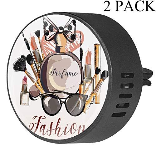 TIZORAX Make-upkwast, 2 pakketten etherische olie diffuser voor auto-luchtkoeler voor op kantoor in de auto Orchid-4x1.6x2.1 cm Orchidee