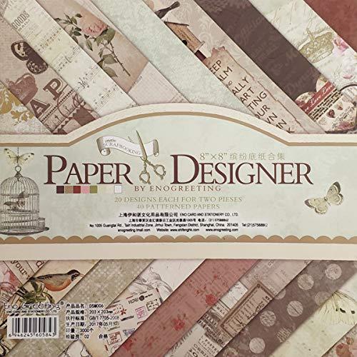 YXJD 40 Blatt Scrapbooking Papier Gemustertes Karton Bastelpapier mit Vintage Design für DIY Handwerk Foto Hintergrund Deko 8x8 Zoll (006)