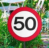 Cartello per esterni con segnale stradale 50 anni