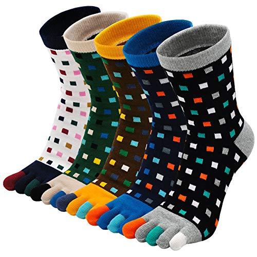 LOFIR Calcetines con Dedos Separados para Hombre Calcetines 5 Dedos, Calcetines de Algodón de Deporte para Niños, Talla 38-44, 5 pares
