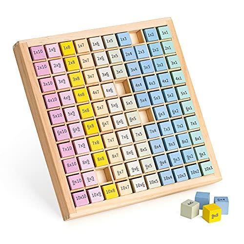 Navaris Tabla de multiplicar de madera - Juego de aprendizaje tablas de multiplicaciones para niños de primaria - Juguete montessori de matemáticas