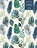College Ruled Notes 110 Pages: Vintage Floral Notebook for Professionals and Students, Teachers and Writers | Blue and Green Palm Leaves Pattern
