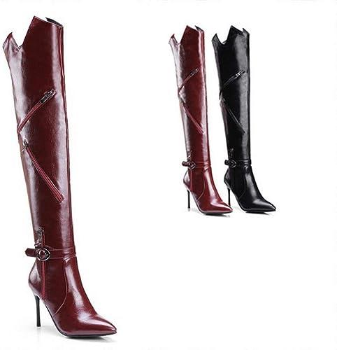 ZHRUI Stiefel para damen - Stiefel de otoño e Invierno Stiletto Stiefel de tacón Alto Stiefel Sexy para damen 32-43 (Farbe   Vino rot, tamaño   33)