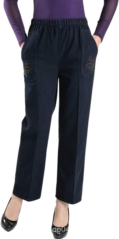 IDEALSANXUN Women's Fleece Lined Elastic Waist Loose Straight Leg Jeans with Embroidery