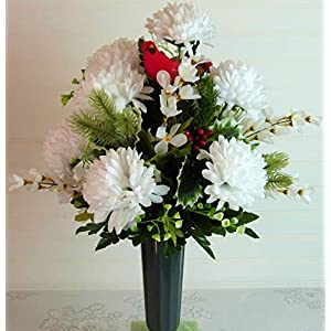 Winter Cemetery Vase, Cemetery Flowers Winter, Cemetery Flowers with Mums