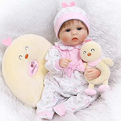Pinky Handmade 42cm 17 Inch Lovely Realistic Reborn Baby Dolls Soft Silicone Babies Lifelike Newborn Baby Girl Doll Real Touch Cute Toddler Child Birthday And Xmas Gift