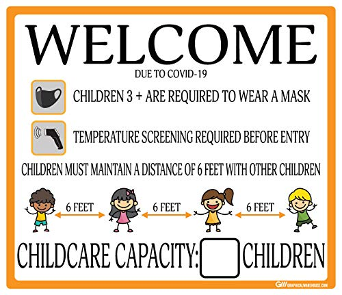 Gym Childcare COVID-19 (Coronavirus) Adhesive Durable Vinyl Decal- (Various Sizes Available) Sign by Graphical Warehouse- Safety and Security Signage, Visual Communication Tool (12x14', Orange)