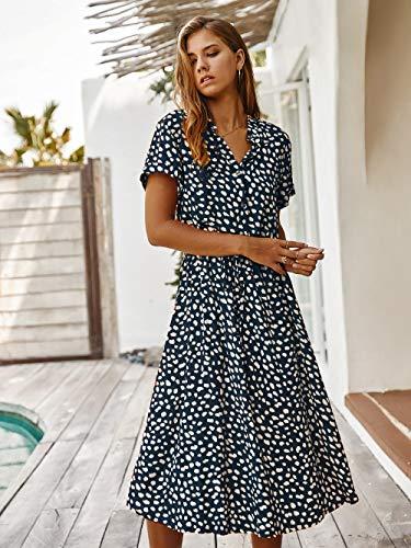 M & A Kleid Kurzarm Kleid mit Dot-Print-Frauen Frauen drehen Kragen einreihig mittellang elegant elegant schnüren Frauen lässig Sommerkleid-Blau_XL