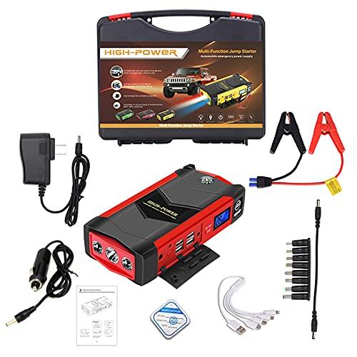 1000A Peak 82800mAh Arrancador de Coches, Arrancador de Baterias de Coche para 6.0L de Gasolina o 5L de Diesel, con Cable USB QC 3.0 y Linterna LED,Red