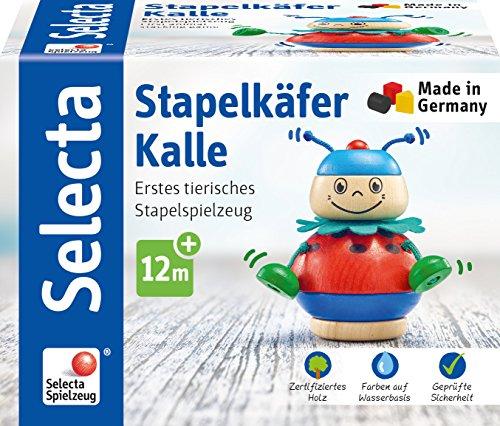 Selecta 62043 Stapelkäfer Kalle, Stapelspielzeug aus Holz, 10 cm