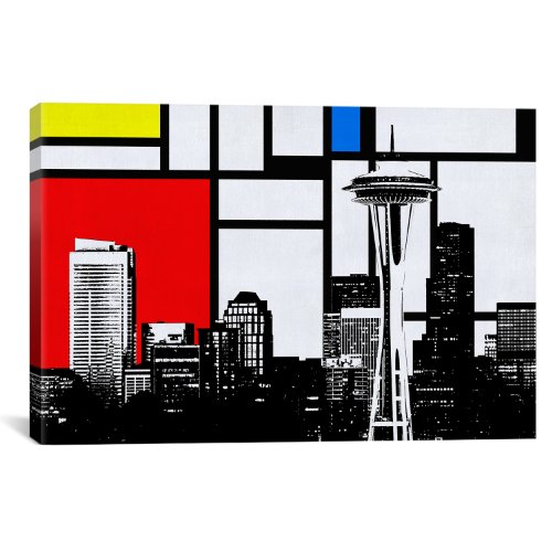 iCanvasART Seattle, Washington Geometric Skyline with Primar...