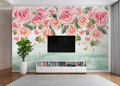 Papel Pintado Pared 3D Flor Rosa Pastoral Americana Moderno Dormitorio Salon Decoracion murales