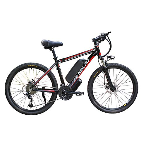 Hyuhome Electric Bicycles for Adults, 360W Aluminum Alloy Ebike Bicycle Removable 48V/10Ah Lithium-Ion Battery Mountain Bike/Commute Ebike,black red