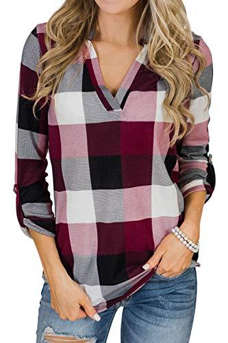 Lantch Damen Shirt Kurzarm & Langarm Bluse Sommer Karierte Hemd Oberteil V-Ausschnitt Casual Kurzarmshirt Hemdbluse(Red Wine, s)