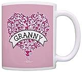 Taza Mug TazasGranny Pink Ribbon Corazón Concienciación sobre el cáncer de mama Taza de café Taza de té Rosa 330Ml