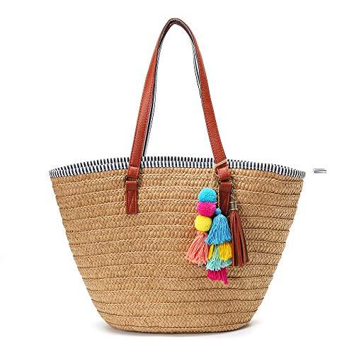Solyinne Straw Beach Bag Large Woven Straw Bag Handbag Women's Woven Tote Bag Summer Beach Tote with Tassel for Travel