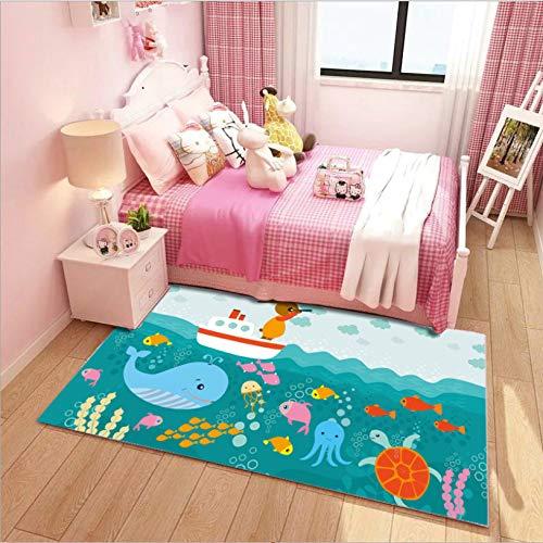 Cartoon-Unterwasserwal-Oktopus-Schildkröten-Teppich, Kriechender Teppich Der Frühen Bildung Der Kinder, Weiche Polyester-Bodenmatte 140cmx200cm