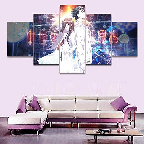 YBYBYB 5 pinturas de arte de parede em tela, arte grande, sem moldura, imagens impressas em HD, decoração de casa, sala de estar, 5 peças de anime Steins Gate Poster pinturas de parede DDZZYY