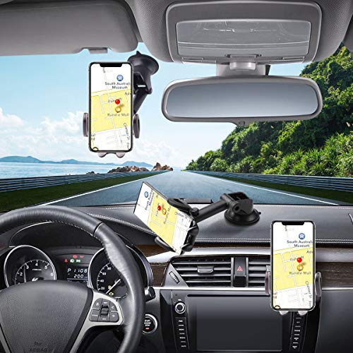 Hapfish - Soporte universal para teléfono móvil para parabrisas de coche, manos libres, fácil abrazadera para iPhone 12 11 Pro XS Max XR X 8 7 6, Galaxy Note, teléfonos móviles
