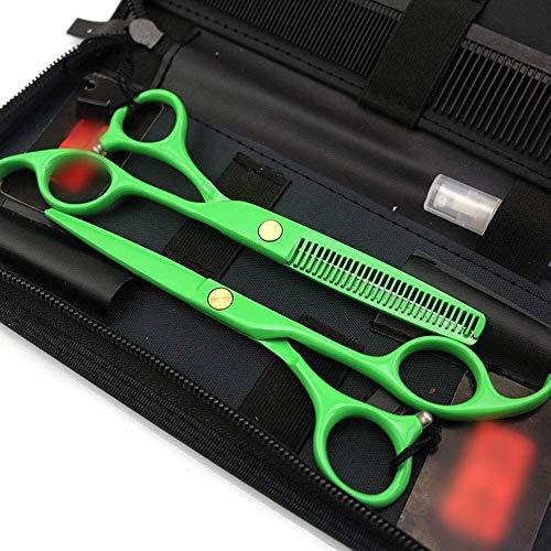 Haarsnijden schaar set, 5,5 inch professionele kappersschaar set, gegalvaniseerde groene platte + tanden schaar schaar