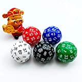 Bescon Fifty-Sided Die, 50 Sided Cube, 50 Sides Dice, 50-Sided D50 30mm Large Gaming Dice - 5 Assorted Opaque Color with Numbers