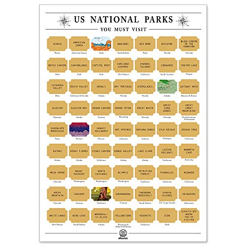 US National Parks Scratch Off Poster (23.5 x 16.5 Inches)
