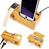 ZeroElec Charging Station and Dock 15W 3A 3-Port USB Bamboo Wood Charging Stand Compatible with Apple Watch 3/2/1 and All iPhones