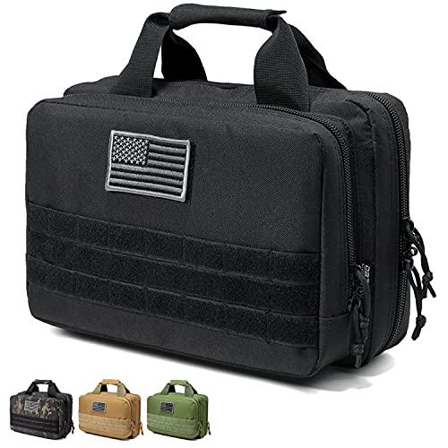 DBTAC Gun Range Bag XS | Tactical 1~2 Pistol Bag Firearm Shooting Case with Lockable Zipper for Handguns and Ammo (Black)