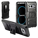 Eaglecell - Compatible with Samsung Galaxy S8 Plus, S8+ SM-G955 - Hybrid Case w/Stand/Belt Clip Holster- CV1 Black