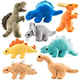 Prextex Plush Dinosaurs 8 Pack 5'' Long Great Gift for Kids Stuffed Animal Assortment Great Set for Kids