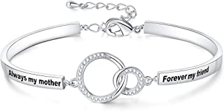 Ado Glo Mom's Birthday Gift, Always My Mother Forever My Friend Interlocking Circles Bracelet, White Gold Plated Fashion Jewelry for Women, Anniversary Present for Her