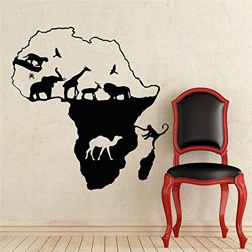 Lamubh Zoo Animal África Mapa Pared calcomanía decoración Vinilo Adhesivo 66x71 cm