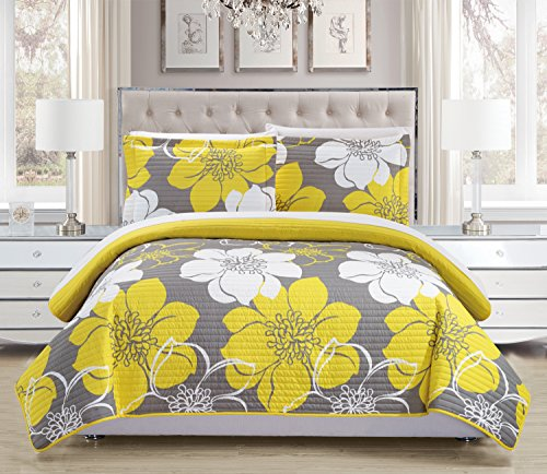Chic Home 3 Piece Woodside Abstract Large Scale Floral Printed Quilt Set with 2 Shams, King, Yellow