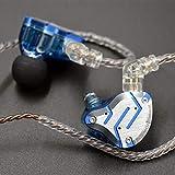 KZ ZS10 Pro - Auriculares de metal 4BA+1DD híbridos 10 unidades HIFI Bass Monitor Auriculares deportivos con cancelación de ruido (con micrófono, azul brillante)
