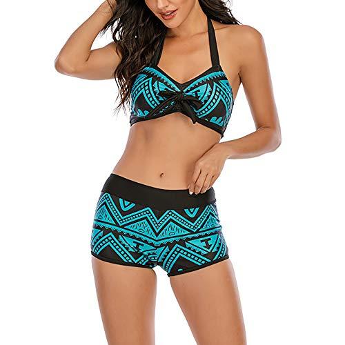 Traje de baño de Dos Piezas de Bikini Dividido para Mujer, diseño Atrevido y Simple, Adecuado para Nadar y Tomar fotografías en la Playa(Azul+L)