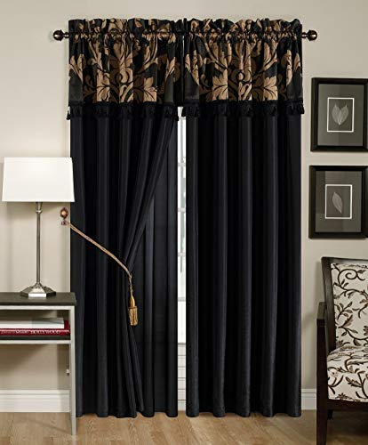 Royale 4-Piece Jacquard Floral Window Curtain/Drape Set with Sheer Backing Valance Tassels, Black/Gold