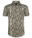 Men's Short Sleeve Shirts 3D Disco Snakeskin Print Button Down Casual Tropical Shirts for Men Beach Hawaiian Aloha Shirt-2XL
