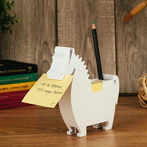 Horse Memo Dispenser and Pen Holder Note pad Clip for Note pad Gifts for co-Workers,2 Packs memo (Horse, White)