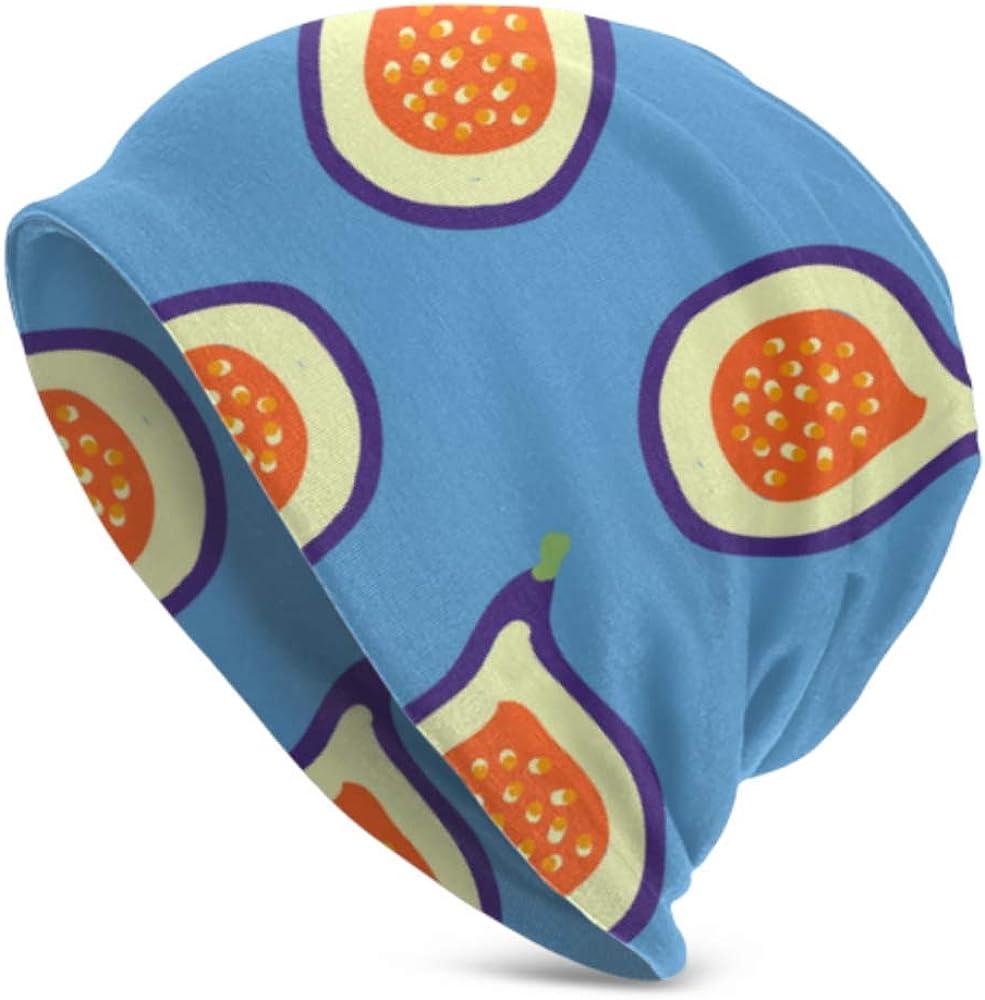 Beanie Hats for Men Women -Warm, Pattern Figs Blue Juicy Figs Slouchy Beanie Cap Tough Headwear,Stretchy Soft Beanie Cap Year Round Comfort