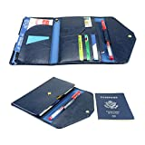 All-In-One Large Capacity RFID Blocking Travel Wallet – Multi-Purpose Passport Holder and Organizer (Navy Blue)