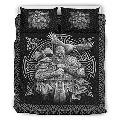 DAMKELLY Store Viking Odin - Colcha (ligera y suave, 1 funda nórdica y 2 fundas de almohada, resistente a la luz, 229 x 229 cm), color blanco