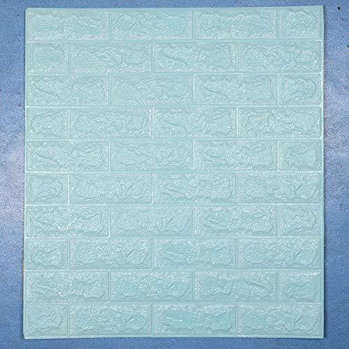 LZYMLG Adesivi murali carta da parati autoadesiva in cemento solido 3d adesivi murali decorativi in schiuma per dormitorio camera da letto soggiorno Mattone azzurro 10 fogli