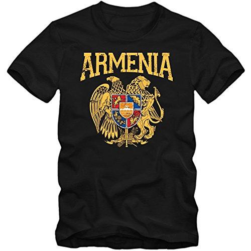 Armenien Wappen T-Shirt | Republik Armenien | Rot | Blau | Orange | Kaukasus | Herrenshirt, Farbe:Schwarz (Deep Black L190);Größe:L