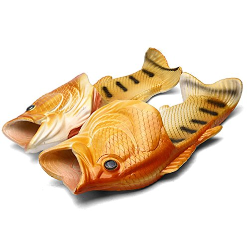 ZeetonFisch Hausschuhe Lustige Schuhe Slippers Unisex Anti-Rutsch Strand Besondere Sandalen Dusche Kinder Jungen Mädchen Damen Herren , Gelb, 43/44 EU