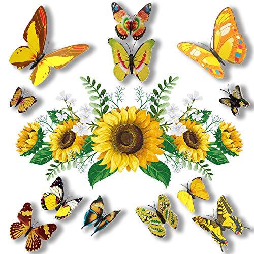 Adesivi Murali Girasoli con 12 Adesivi Murali Farfalla Colorati 3D per Cameretta Bagno Cucina, Fiore Giallo Rimovibile Murale Fai da Te Decorazioni per La Casa Decorazioni per La Casa