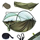 YOOMO Camping Hammock with Mosquito Net & Tree Straps Lightweight Parachute Fabric Travel Bed for Hiking, Backpacking, Backyard. (Army Green)