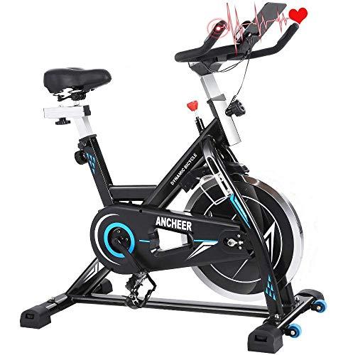ANCHEER Bici da Spinning Cyclette con Volantino di Inerzia 22 kg, Aerobica da Spinning ,Display LCD, Sensore di Impuls, Collega con l'App Manubrio e Sella Regolabili, Portata Massima 120 kg