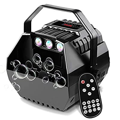 CrtWorld LED Bubble Machine For Kids Bubbles Blower With LED Screen Operation Or Wireless Remote Control, Adjustable Speed Levels, Powered by Plug-in or Batteries, Indoor/Outdoor Use by CrtWorld