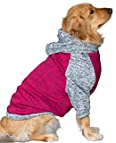 Dog Sweater, Dog Hoodie, Cold Weather Clothes for Medium Large Dogs, Soft and Warm (X-Large, Fuchsia/Grey)